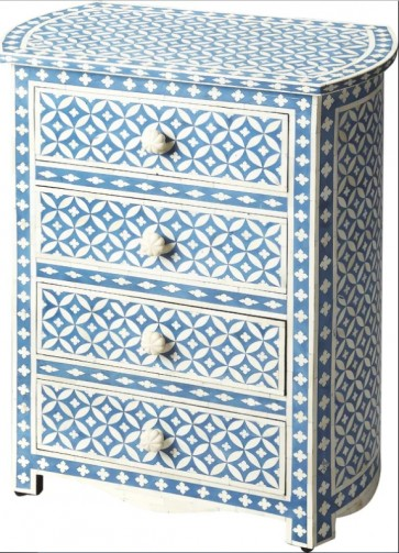 Handmade Bone Inlay Wooden Modern Geometric Pattern Chest Of Drawer Furniture