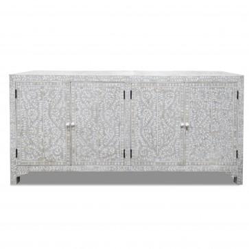 Handmade Bone Inlay Wooden Modern Floral Pattern Sideboard with 4 Door Furniture .