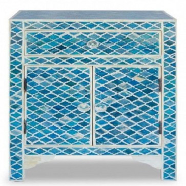 Handmade Bone Inlay Antique Mughal Pattern 1 Drawer and 2 Door  Home Decor Bedside Furniture
