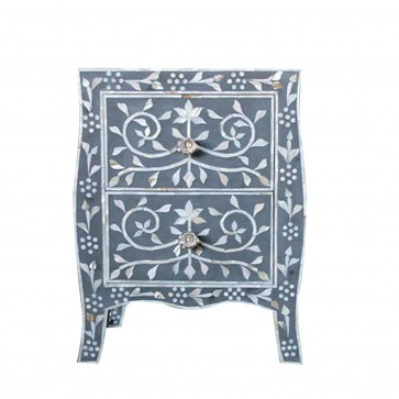 Handmade Mother of Pearl Inlay Wooden Modern Floral Pattern Bedside with 2 Drawer Furniture.