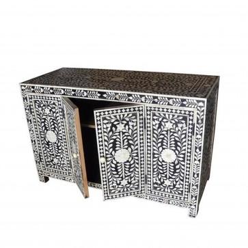 Handmade Bone Inlay Wooden Modern Floral Pattern Sideboard with Door Furniture .