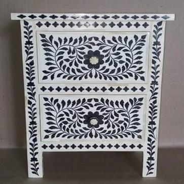 Handmade Mop Wooden Modern Floral Pattern 2 Drawer  Bedside Furniture