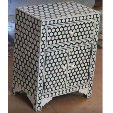 Handmade Bone Inlay Wooden Modern Hexagon Pattern 1 Drawer and 2 Door bedside Furniture.