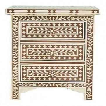 Handmade Bone Inlay Wooden Modern 3 Drawer Floral Pattern Furniture