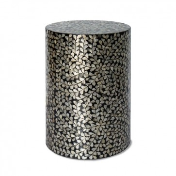 Handmade Mother Of Pearl Inlay Wooden Modern Floral Pattern End Table Furniture.