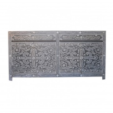 Handmade Bone Inlay Wooden Modern Floral Pattern Sideboard with 2 Drawer and 4 Door Furniture .