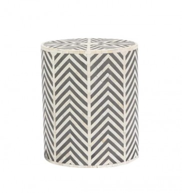 Handmade Bone Inlay Wooden Modern Striped Pattern End Table Furniture.