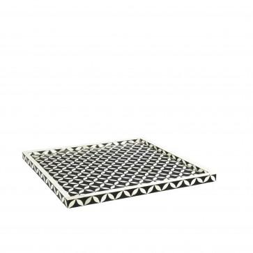 Handmade Bone Inlay Wooden Modern Geometric Pattern Serving Tray Furniture