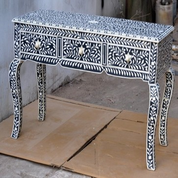 Bone Inlay Black Console Table 3 Drawer Modern Handmade Furniture Bone inlay