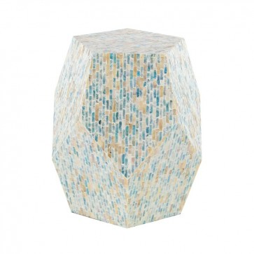 Handmade Mother Of Pearl Inlay Wooden Modern Striped Pattern End Table Furniture.