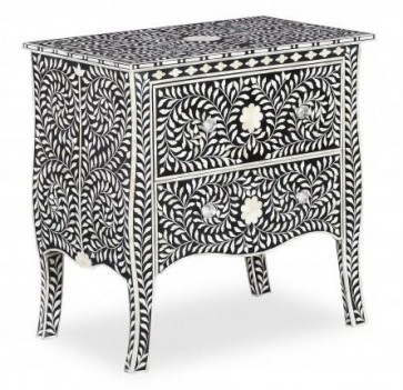 Bone Inlay Floral Chest Of 2 Drawers  Handmade Furniture