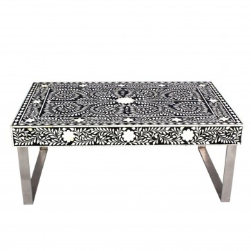 Handmade Bone Inlay Wooden Modern Floral Pattern Coffee Table Furniture with Iron legs