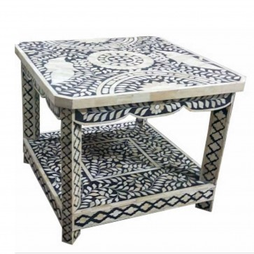 Handmade Bone Inlay Wooden Modern End Table Furniture