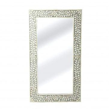 Handmade Bone Inlay Wooden Modern Floral Pattern Mirror Frame Furniture.
