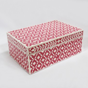 Handmade Bone Inlay Wooden Modern Geometric Pattern Jewelry Box Furniture