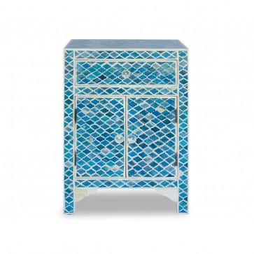 Handmade Bone Inlay Wooden Modern Mughal Pattern Bedside with 1 Drawer and 2 Door Furniture .