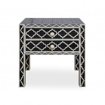 Handmade Bone Inlay Wooden Modern Pattern Bedside with 2 Drawer Furniture .