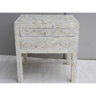 Handmade MOP Inlay Wooden Modern Floral Pattern Bedside with 2 Drawer Furniture .