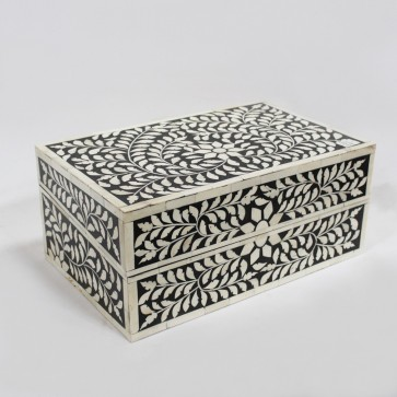 Handmade Bone Inlay Wooden Modern Floral Pattern Jewelry Box Furniture