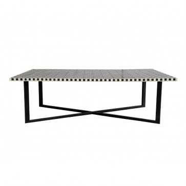 Handmade Bone Inlay Wooden Modern Mughal Pattern Coffee Table Furniture with Iron legs