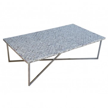 Handmade Bone Inlay Wooden Modern Geometric Pattern Coffee Table Furniture with Iron legs