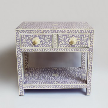 Handmade Bone Inlay Wooden Modern Floral Pattern Bedside with 2 Drawer Furniture .