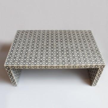 Handmade Bone Inlay Wooden Modern Geometric Pattern Coffee Table Furniture