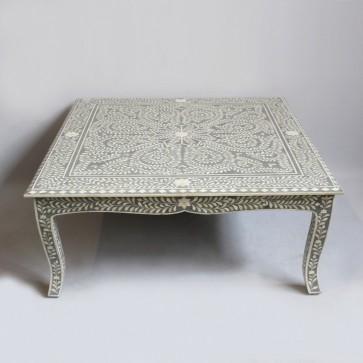Handmade Bone Inlay Wooden Modern Floral Pattern Coffee Table Furniture .