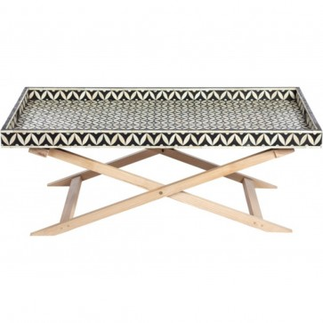 Handmade Bone Inlay Wooden Modern Geometric Pattern Coffee Table Furniture with wooden fold-able legs