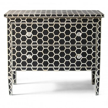 Handmade Bone Inlay Wooden Modern Hexagon Pattern Sideboard Furniture