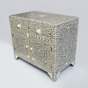 Handmade Bone Inlay Wooden Modern Floral Pattern Sideboard with 1 Drawer and 2 Door Furniture .