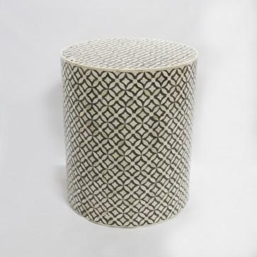 Handmade Bone Inlay Wooden Modern Geometric Pattern End Table Furniture.