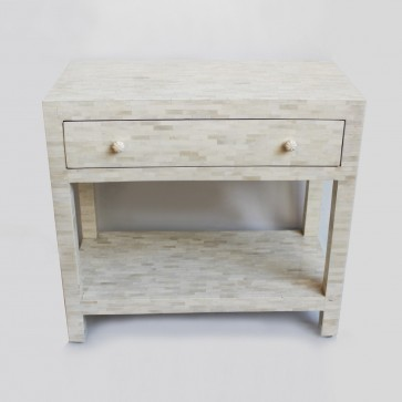 Handmade Bone Inlay Wooden Modern Pattern Bedside with 1 Drawer Furniture.