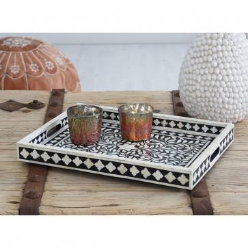 Handmade Bone Inlay Wooden Modern Floral Pattern Tray Furniture.