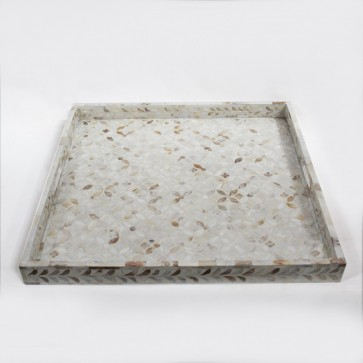 Handmade MOP Inlay Wooden Modern Geometric Pattern Tray Furniture.