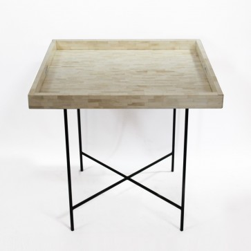 Handmade Bone Inlay Wooden Modern Pattern Tray Furniture with Metal Leg