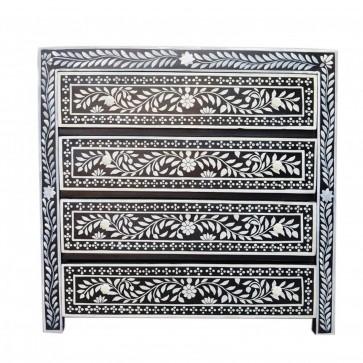 Handmade Bone Inlay Wooden Modern Floral Pattern Sideboard with 4 Drawer Furniture .