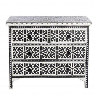 Handmade Bone Inlay Wooden Modern Pattern Sideboard with 4 Drawer Furniture .