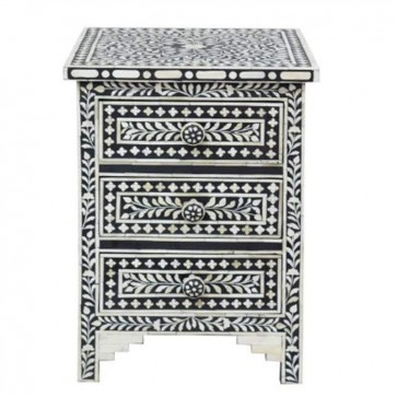 Black Bone Inlay Floral 3 Drawer Bedside Table Handmade Bone inlay Furniture