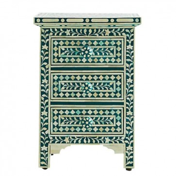 Green Bone Inlay Floral 3 Drawer Bedside Table Handmade Bone inlay Furniture