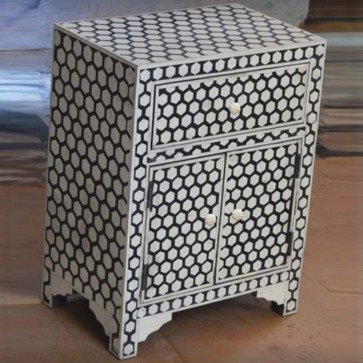 Black Bone Inlay Wooden Modern Antique Hexagon Pattern Handmade Bed Side