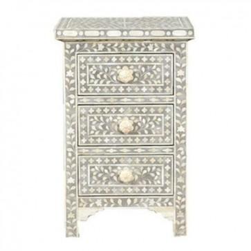 Grey Bone Inlay Floral 3 Drawer Bedside Table Handmade Bone inlay Furniture