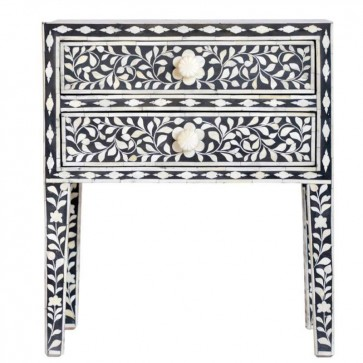 Bone Inlay Handmade End table Home Decor Furniture Art