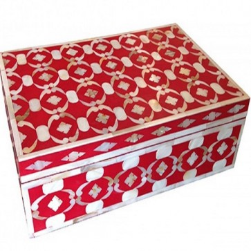 Handmade MOP Inlay Wooden Modern Pattern Jewelry Box Furniture