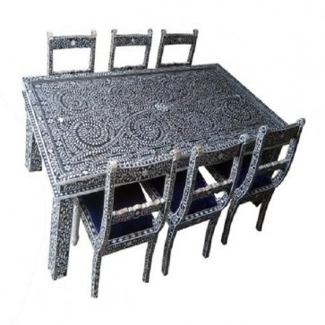 Black Bone Inlay Floral Dining table and Six chair Set Handmade bone inlay furniture