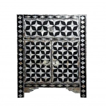 Handmade Mother of Pearl Inlay Wooden Modern Star Pattern Bedside Furniture