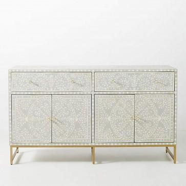 Handmade Bone Inlay Wooden Modern Floral Pattern Sideboard Furniture with Iron Legs