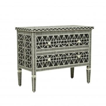 Handmade Bone Inlay Wooden Modern Pattern Sideboard with 2 Drawer Furniture .
