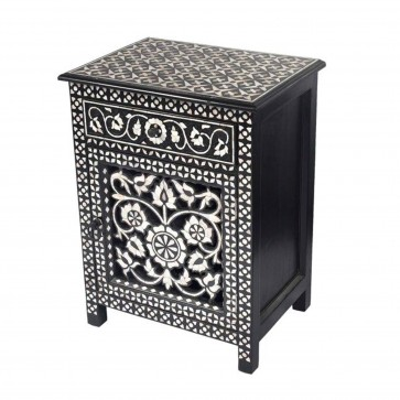 Handmade Bone Inlay Wooden Modern Floral Pattern Bedside with 1 Drawer and 1 Door Furniture