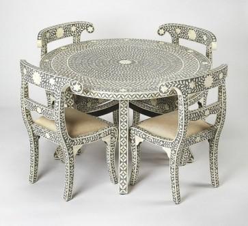 Grey Bone Inlay Geometric Pattern Dining table and Four chair Set Handmade bone inlay furniture